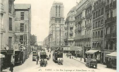 """CPA FRANCE 75005 """"Paris, la rue Lagrange et Notre Dame"""""""