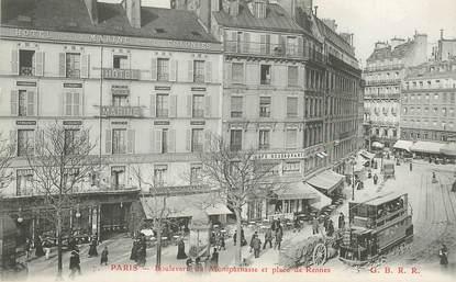 """CPA FRANCE 75006 """"Paris, Bld du Montparnasse et place de Rennes"""""""