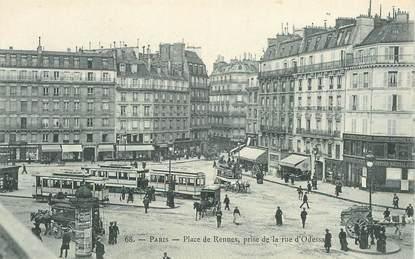 """CPA FRANCE 75006 """"Paris, Place de Rennes"""" / TRAMWAY"""
