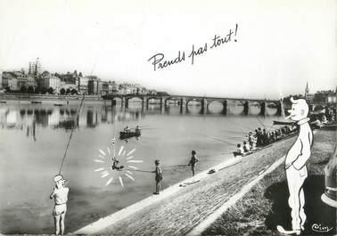 """/ CPSM FRANCE 71 """"Macon, sur les quais de la Saône"""" / PECHE"""