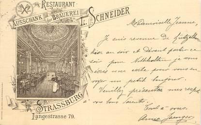 """CPA FRANCE 67 """"Strasbourg, Restaurant Schneider"""" / 1897"""