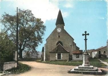 """/ CPSM FRANCE 71 """"Prety, le calvaire, l'église, le platane"""""""