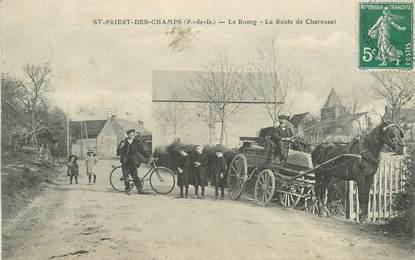 """CPA FRANCE 63 """"Saint Priest des Champs, le Bourg, la Route de Charensat"""""""