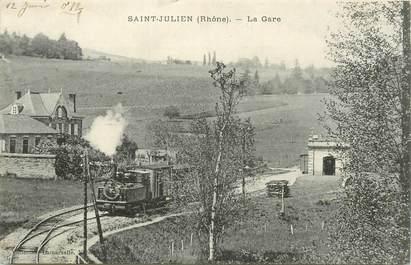 """CPA FRANCE 69 """"Saint Julien, la gare"""" / TRAIN"""