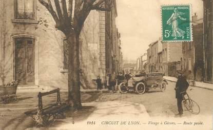 """CPA FRANCE 69 """"Circuit de Lyon, Virage à Givors"""" / COURSE AUTOMOBILE"""