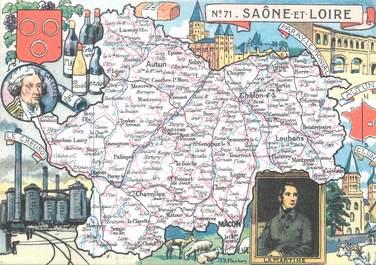 """/ CPSM FRANCE 71 """"Saône et Loire"""" / CARTE GEOGRAPHIQUE"""