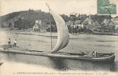 """CPA FRANCE 49 """"Chenillé Changé, vue prise sur la Mayenne"""" / PENICHE"""