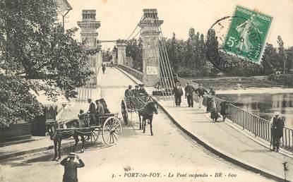 """CPA  FRANCE 24 """"Port Sainte Foy, le pont suspendu"""""""
