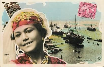 """CPA EGYPTE """"Femme et vue de Port Saïd"""""""