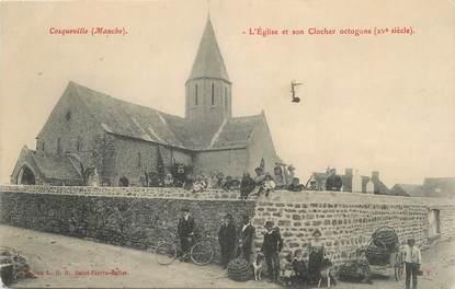 """/ CPA FRANCE 50 """"Cosqueville, l'église et son clocher"""""""