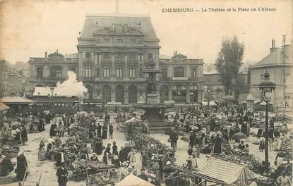 """/ CPA FRANCE 50 """"Cherbourg, le théâtre et la place du château """""""