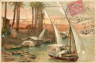 """CPA EGYPTE """"Le Caire, les bords du Nil"""""""