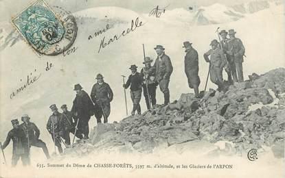 """CPA FRANCE 73 """"Sommet du Dôme de Chasse Forêts, les Glaciers de l'Arpon"""" / ALPINISME"""