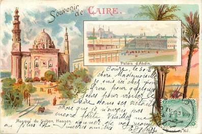 """CPA EGYPTE """"Souvenir du Caire, Mosquée du Sultan Hassen et Palais d'Abdin"""""""