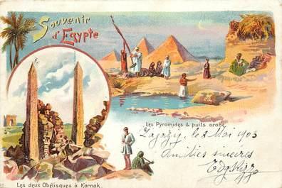 """CPA EGYPTE """"Souvenir d'Egypte, les deux obélisques à Karnak et les pyramides"""""""