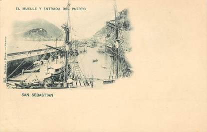 """CPA ESPAGNE """"San Sebastian, El Muelle y entrada del Puerto"""""""