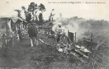 """/ CPA FRANCE 50 """"Une foire en Basse Normandie, boucheries et rôtisseries"""""""
