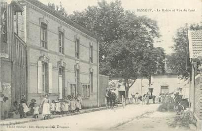 """/ CPA FRANCE 51 """"Bassuet, la mairie et rue du pont"""""""