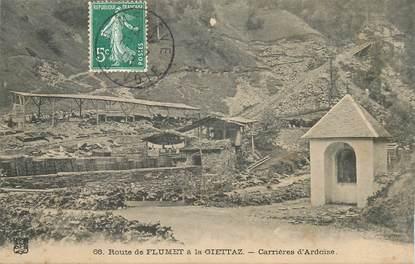 """CPA FRANCE 73 """"Route de Flumet à la Giettaz, les carrières d'Ardoises"""""""