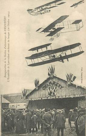 """CPA FRANCE 73 """"Chambéry, inauguration de la Station d'atterrissage"""" / AVIATION"""