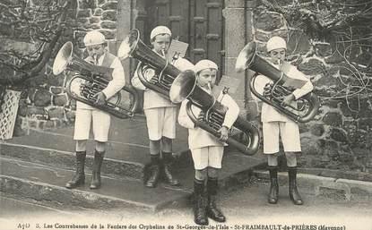 """/ CPA FRANCE 53 """"Saint Fraimbault de Prières, Les contrebasses de la fanfare des orphelins de Saint Georges de l'Isle """""""