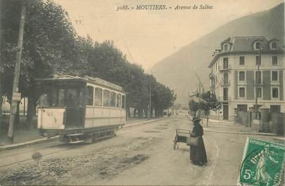 """CPA FRANCE 73 """"Moutiers, avenue de Salins"""" / TRAMWAY"""