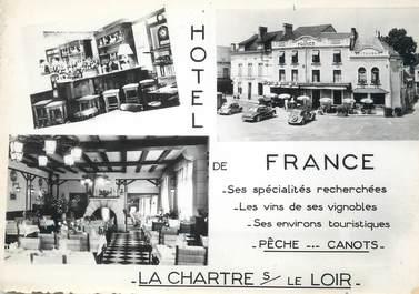 """/ CPSM FRANCE 72 """" La Chartre sur Le Loir, hôtel de France"""""""