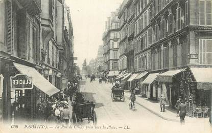 """CPA FRANCE 75009  """"Paris, la Rue de Clichy"""""""