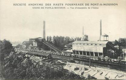 """/ CPA FRANCE 54 """"Pont A Mousson, Société anonyme des Hauts Fourneaux, usine,vue d'ensemble"""" / MINE"""