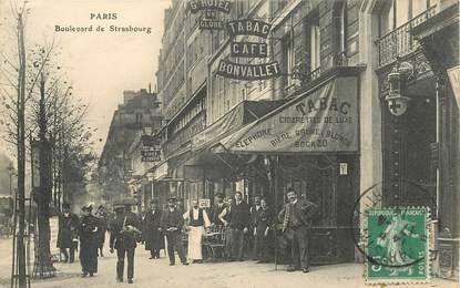"""CPA FRANCE 75010 """"Paris, Boulevard de Strasbourg, Tabac Café Bonvallet"""""""