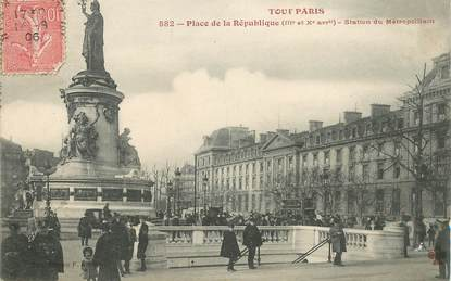 """CPA FRANCE 75010 """"Paris, Place de la République, station du Métro"""" / TOUT PARIS"""