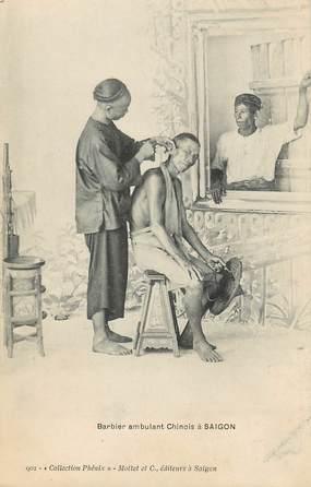 "CPA INDOCHINE "" Barbier ambulant chinois à Saigon"""