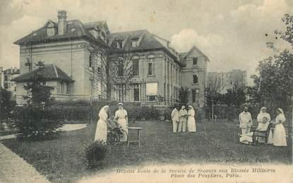"""CPA FRANCE 75013 """"Paris, Hopital Ecole de la Société de secours aux blessés militaires, Place des Peupliers"""""""