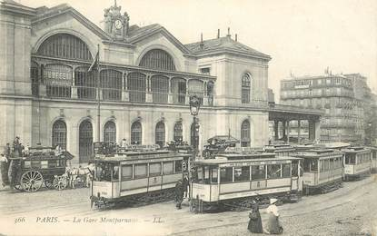 "CPA FRANCE 75014""Paris, la gare Montparnasse"" / TRAMWAY"