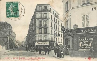 cpa france 75015 paris la rue saint charles tout paris 75 paris 15 eme arrondissement. Black Bedroom Furniture Sets. Home Design Ideas