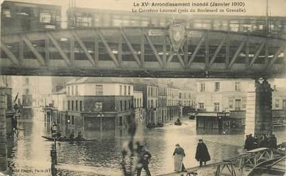 """CPA FRANCE 75015 """"Paris, Le carrefour Lourmel pendant les inondations de 1910"""""""