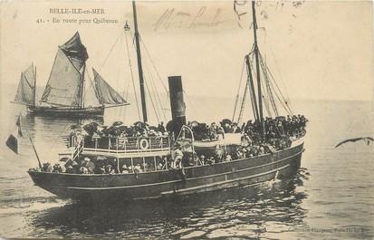 """/ CPA FRANCE 56 """"Belle Ile en Mer, en route pour Quibéron"""""""