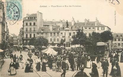 """/ CPA FRANCE 56 """"Lorient, place Bisson et rue des Fontaines"""""""