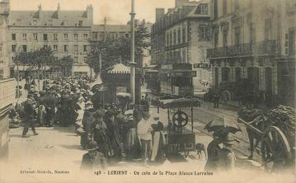 """/ CPA FRANCE 56 """"Lorient, un coin de la place Alsace Lorraine"""""""
