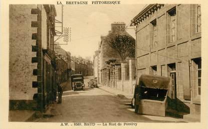 """/ CPA FRANCE 56 """"Baud, la rue de Pontivy """""""