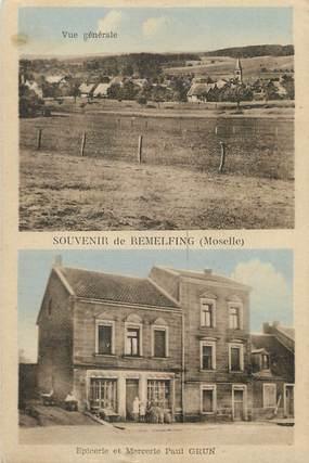 """/ CPA FRANCE 57 """"Souvenir de Remelfing, épicerie et mercerie Paul Grun"""""""
