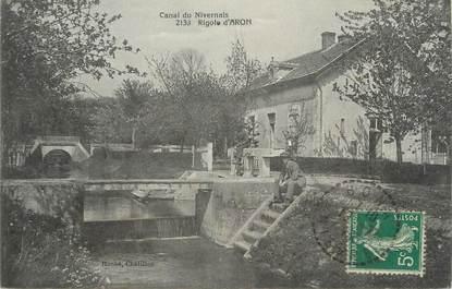 "/ CPA FRANCE 58 ""Canal du Nivernais, rigole d'Aron"""