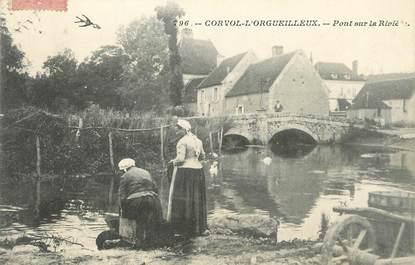 """/ CPA FRANCE 58 """"Corvol l'Orgueilleux, pont sur la rivière"""""""