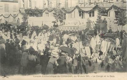 """/ CPA FRANCE 58 """"Congrès Eucharistique de Corbigny, le clergé et la Dais"""""""