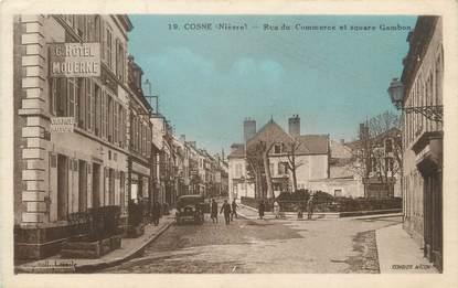 """/ CPA FRANCE 58 """"Cosne, rue du commerce et Square Gambon"""""""