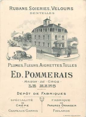 """/ CPSM FRANCE 72 """"Le Mans, Ed Pommerais"""" / FABRIQUE RUBANS / CARTE PUBLICITAIRE"""