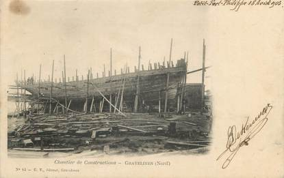 "/ CPA FRANCE 59 ""Gravelines, chantier de construction"""