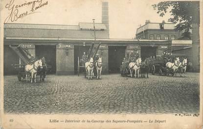 """/ CPA FRANCE 59 """"Lille, intérieur de la caserne des sapeurs pompiers, le départ"""""""