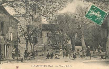 """CPA FRANCE 83 """"Fox Amphoux, la place et l'Eglise"""""""