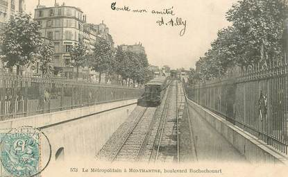 """CPA FRANCE 75018 """"Paris, le Métro à Montmartre, Boulevard Rochechouart"""""""